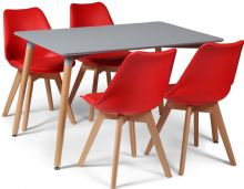 Toulouse Dining Set  - 120x80cms Grey Table & 4 Red Chairs